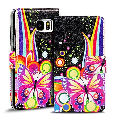 Preisvergleich Produktbild Conie PW35338 Print Wallet Kompatibel mit Samsung Galaxy S8 Plus,  Motiv Klapphülle mit HD Druck Muster Etui für Galaxy S8 Plus Hülle Motiv Schwarz Bunt