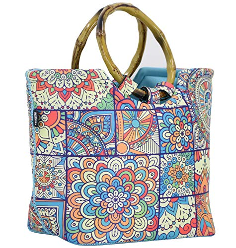 Lunch Bag Tote Bag by QOGiR - Large Reusable Insulated Neoprene lunch Bag with Inside Pocket Colorful