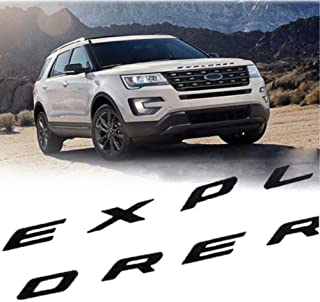 New ABS Front Hood Emblem 3D Letters Compatible for 2011-2020 Explorer Stickers - Gloss Black