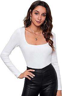 Romwe Women's Striped Button Up Long Sleeve Casual Knit Crop Tee T-Shirt Blouse Top