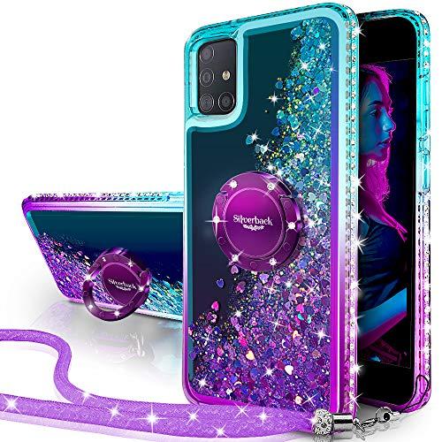 Miss Arts Cover Galaxy A71 4G, [Silverback] Custodia Glitter di in TPU con Supporto, Pendenza Colore Diamond Liquido Cover Case per Samsung Galaxy A71 4G -Porpora