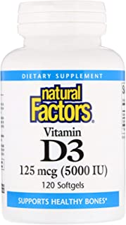 Natural Factors - Vitamin D3 5000 IU, Supports Healthy Bones, 120 Soft Gels