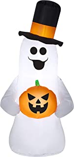 Halloween Inflatable Ghost Wearing Tophat Holding Pumpkin