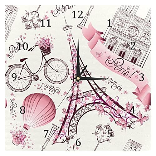 BestIdeas Reloj de pared de cuarzo silencioso de París con la Torre Eiffel con bicicleta, funciona con pilas, para decoración del hogar, dormitorio, salón, cocina, oficina