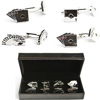 MRCUFF Playing Cards Poker Player Gambler 4 Pairs Cufflinks in a Presentation Gift Box & Polishing Cloth