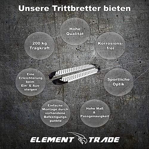 Element Trade Trittbrett Seitenschweller passend für TOUAREG | Bj. 2002-2010 | V-Edition | Silber