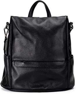 Xuan Yuan Backpack - Women's European and American Fashion Large-Capacity Backpack, Wild Casual Soft Leather Bag Can Accommodate 10 Inch Computer Zipper Seal Backpack (Color : Black)