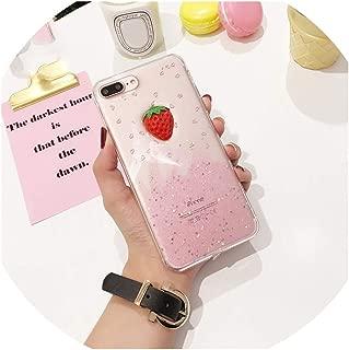 AKIグリッター電話ケースiPhone 7プラスケースソフトTPUキラキラフルーツストロベリーハニージューシーな桃カバーiPhone Xケース、イチゴ、iPhone 8