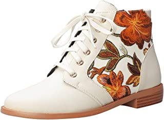 ELEEMEE Women Flat Floral Ankle Boots Lace Up