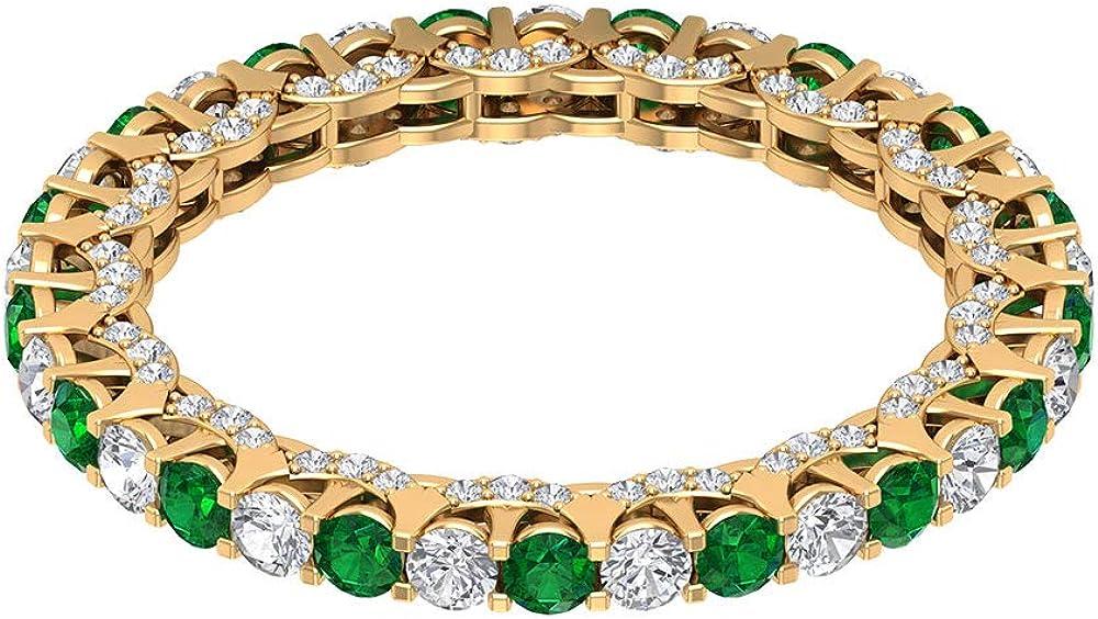 Finally resale start 2 MM Round Lab Created Emerald Ring CT 0.88 Diamond Great interest HI-SI Etern