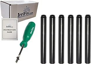 IrriFix Box Set - Rain Bird Popup Riser Extensions 1800EXT | RainBird Universal Sprinkler Extenders | Set of 6 with Instruction Card & RotorTool Screwdriver