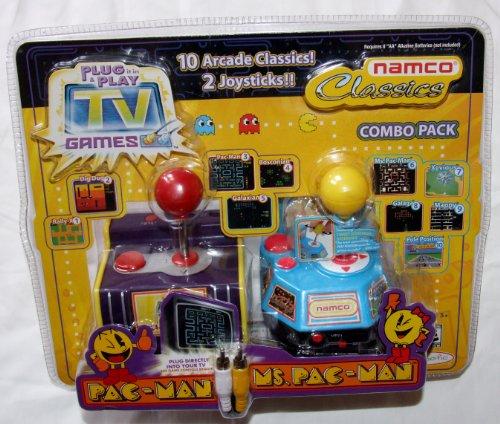 Namco Jakks Plug & Play TV Games Classics Combo Pack: Pac-Man & Ms. Pac-Man, 10 Arcade Classics