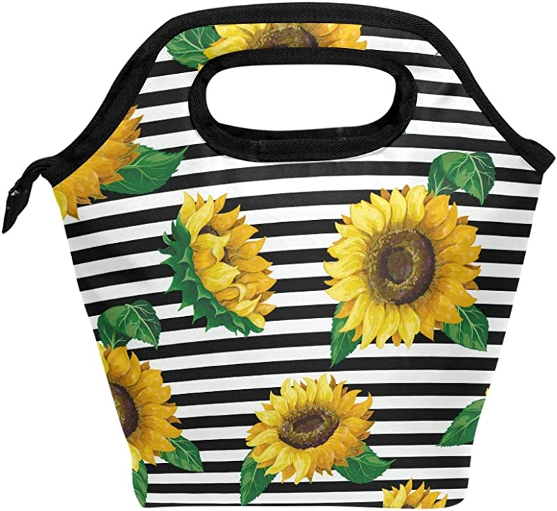 Lunch Bag Yellow Sunflowers White Black Stripes Insulated Lunchbox Thermal Portable Handbag Food Container Cooler Reusable Outdoors Travel Work School Lunch Tote