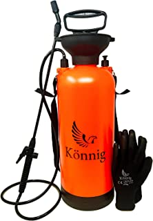 Könnig Lawn, Yard and Garden Pressure Sprayer For Chemicals, Fertilizer, Herbicides and Pesticides with FREE Pair of Garde...