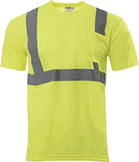 JORESTECH Safety T Shirt Reflective High Visibility Short Sleeve Yellow/Lime ANSI Class 2 Level 2 Type R TS-01 (XL)