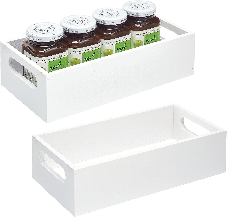 mDesign Juego de 2 cajas organizadoras con asas – Práctico cajón de madera para almacenar alimentos, especias, nueces o botellas – Organizador de cocina abierto en madera de bambú – blanco