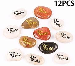 Rock Impact You Rock Stone Engraved Inspirational Stones Pocket Stone River Rock Word Stone Reiki Healing Balancing Palm Chakra Bulk Price (Pack of 12, You Rock)