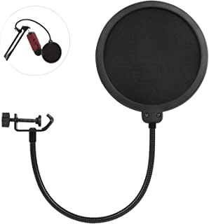 AUSELECT Professional Microphone Pop Filter Mask Shield Compatible Dual Layered Wind Pop Screen With A Flexible 360 Degree...