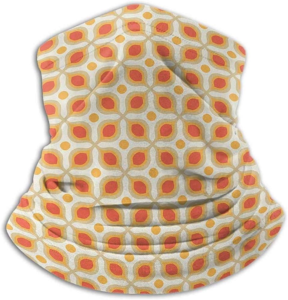 Face Scarf Mask For Men Geometric Unisex Anti-Dust Washable Linked Bold Geometric Shapes 70s Vintage Minimalist Pattern Boho Home Decor Orange Cream