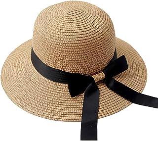 Wxcgbnstym قبعة الشمس، قبعة شمس للنساء بيضاء قبعة شاطئ ماصة أنيقة حماية فيونكة عطلة واسعة حافة الصيف دلو كاب (اللون: بني)
