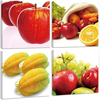 TONZOM HD Canvas Wall Art Craft Fruits Apples, Oranges, Carambolas, Grapes 12X12InchX4 Frame Ready to hang For bathroom Decoration Print