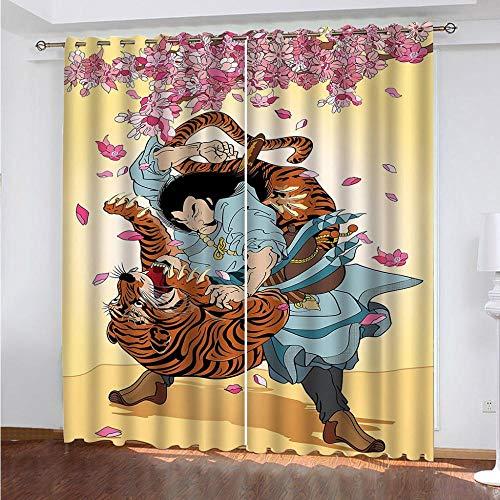 LZTTDMG 3D Cortinas Opacas Wuson vence a un Tigre Cortinas de Impresión Cortinas Térmicas Aislantes y Reducción de Ruido Dormitorio Habitación Infantil Sala de Estar Decorativa Cortinas 183x214cm