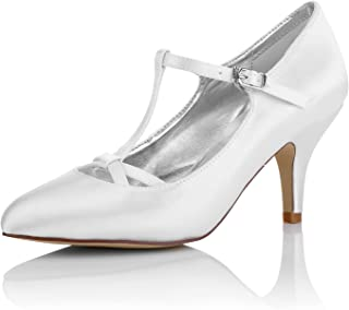 JIAJIA K989777 Women's Bridal Shoes T-bar Closed Toe Mid Heel Dyeable Satin Pumps Wedding Shoes