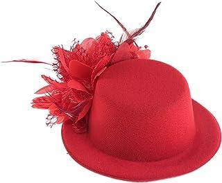 LURROSE ハットヘアクリップシルクレースフラワーヘッドウェア写真の小道具コスプレ宴会ヘッドドレス用女性レディース13 cm(赤)
