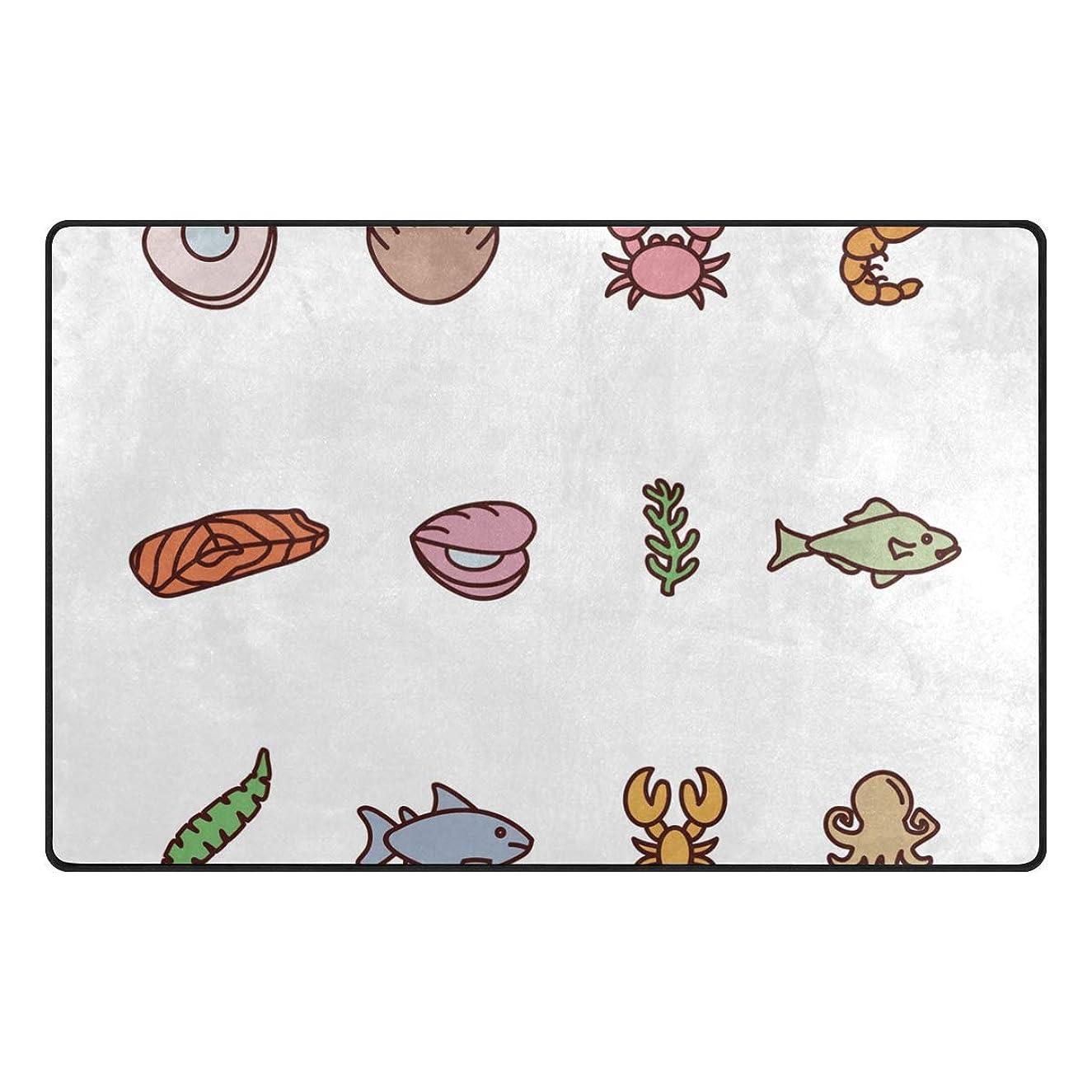 pengyong Hand Drawn Seafood Non-Slip Floor Mat Home Decor Door Carpet Entry Rug Door Mat for Outdoor/Indoor Uses