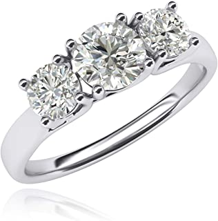 Fine 14k White Gold Three Stone Trellis Simulated Diamond Ring Promise Engagement ring 2.0ctw for Women