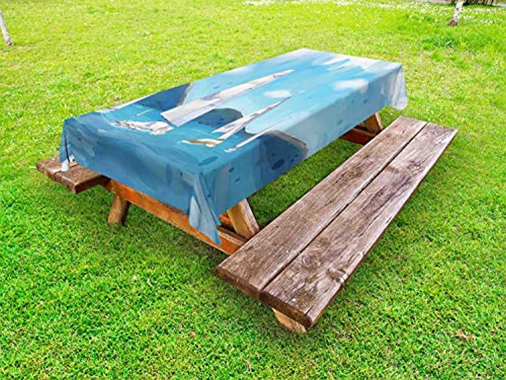 Ambesonne Sailboat Outdoor Tablecloth, Lansdscape of Sailing Boats Brush Strokes Technique Stained Template, Decorative Washable Picnic Table Cloth, 58 X 84 Inches, Slate Blue and Pale Blue