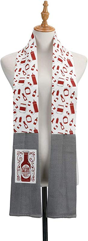 Awesome Sauce Bottle Red And Grey 69 Inch Cotton Fabric Boa Dish Towel