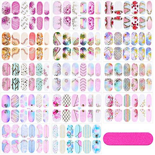 14 Blatt Voll Verpackung Gradient Nagellack Aufkleber Selbstklebende Nagel Kunst Aufkleber Streifen Maniküre Dekoration Kit mit Nagelfeile für Frauen Mädchen DIY Lieferungen
