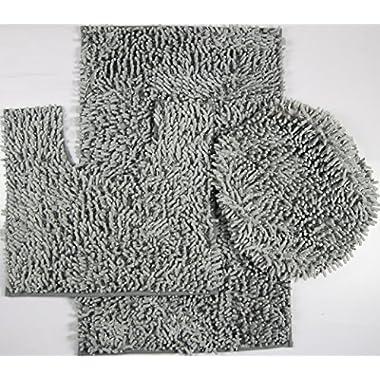 3 Piece Ultra Soft Microfiber Mixed Shiny Chenille Bath Mats Set Large Mat 19.5 x 31 Contour Mat 19.5 x 17.5 Lid 20 x 18 (Gray)