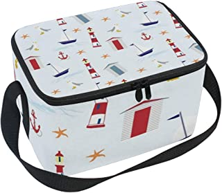Lunch Box with Cartoon Anchor Sailing Boat Seagull Lighthouse Print, Lunch Bag Insulated Cooler Picnic Bags with Shoulder Strap for School Picnic