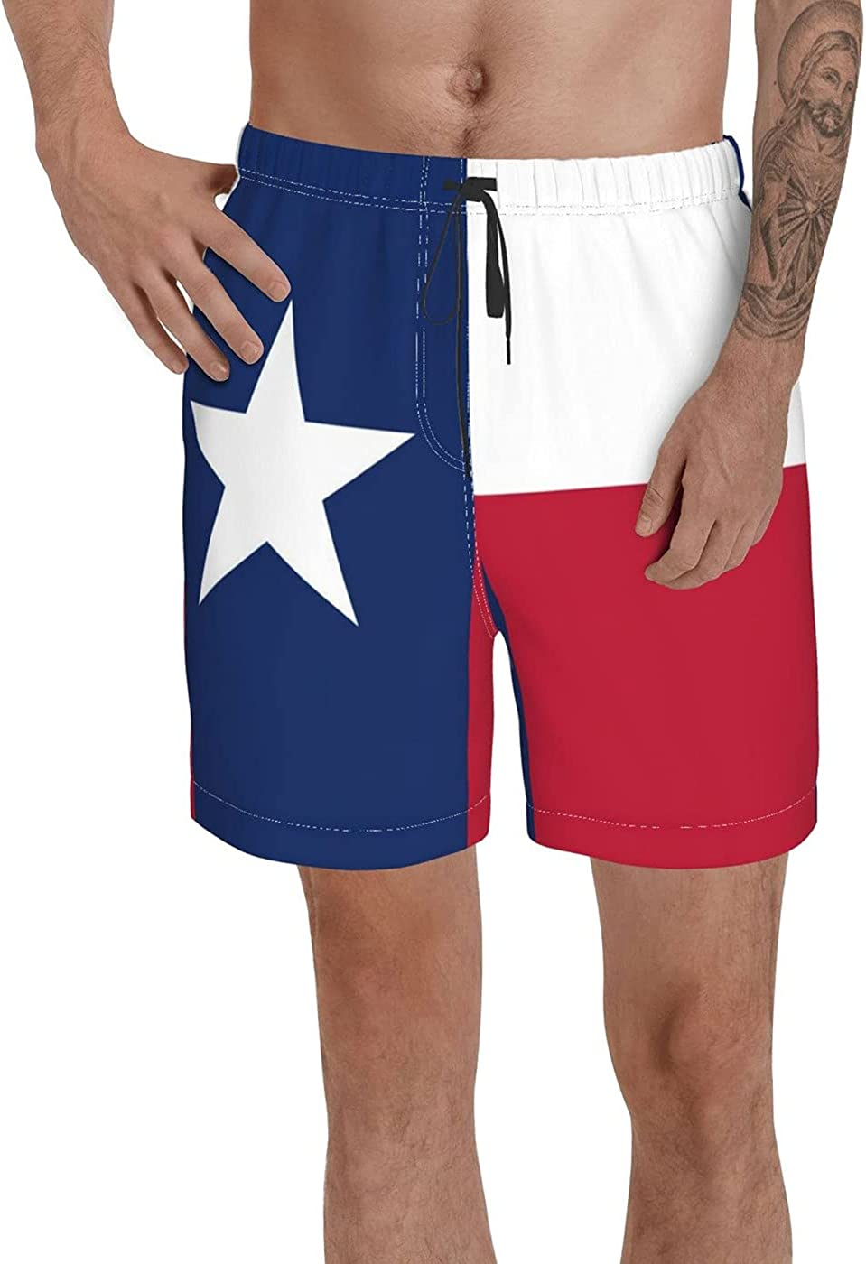 Count Texas State Flag Men's 3D Printed Funny Summer Quick Dry Swim Short Board Shorts with