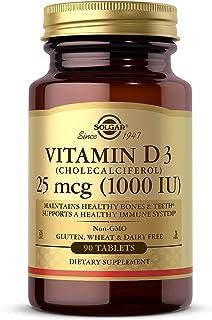 Solgar Vitamin D3 (Cholecalciferol) 25 mcg (1000 IU) Tablets - 90 Count