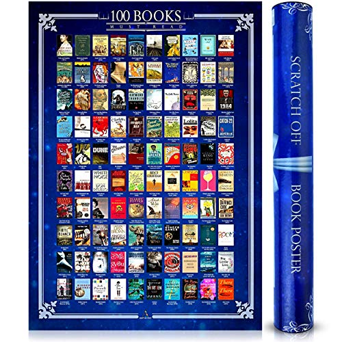 Scratch Off Books Poster 100 Must Read Of All Time Bucket List Large 16.5 x 23.4 inches - Wall Decor...