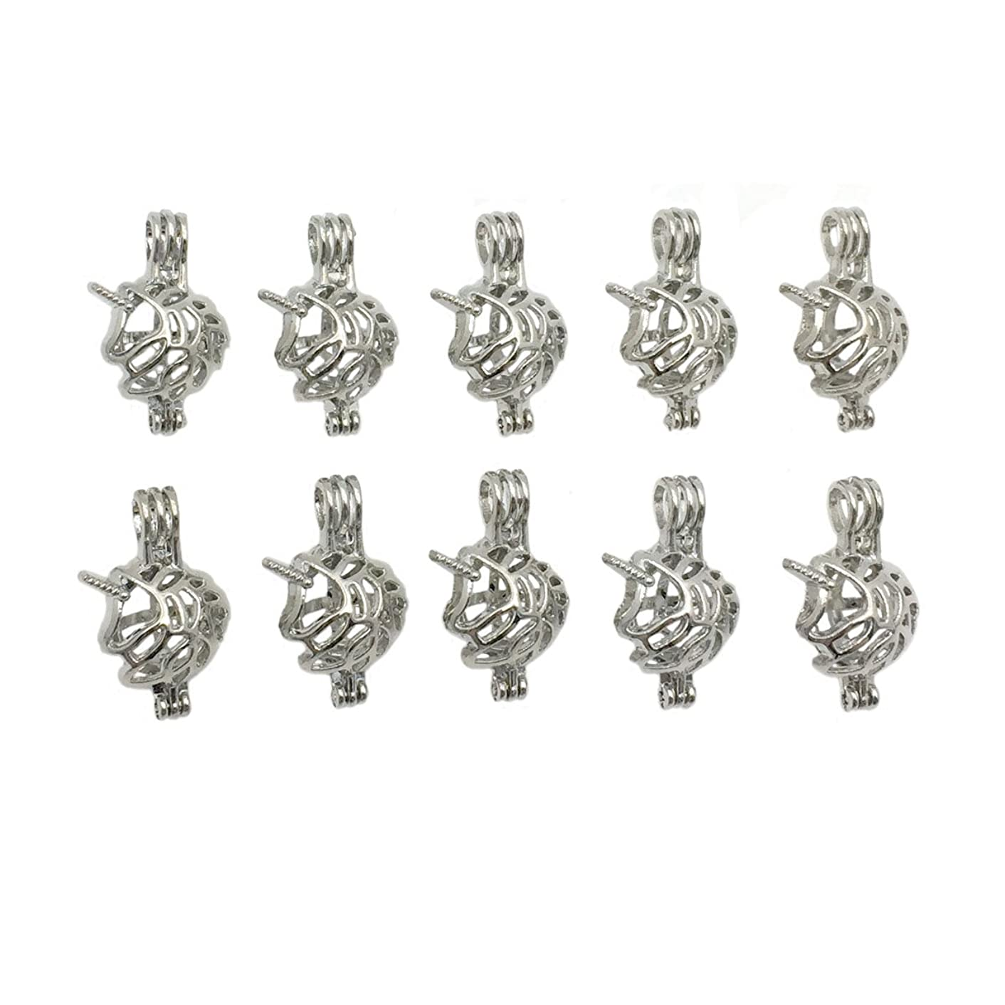 10pcs Silver Unicorn Animal Shape Small Pearl Bead Cage Pendant Locket Jewelry Necklace Bracelet Making