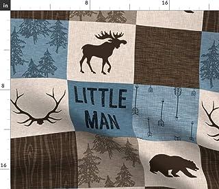 Spoonflower Fabric - Little Man Quilt Blue Brown