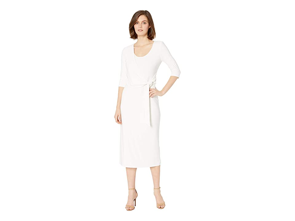 LAUREN Ralph Lauren 1T Matte Jersey Barrie 3/4 Sleeve Day Dress (Mascarpone Cream) Women