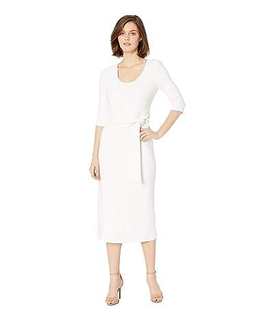 LAUREN Ralph Lauren 1T Matte Jersey Barrie 3/4 Sleeve Day Dress (Mascarpone Cream) Women