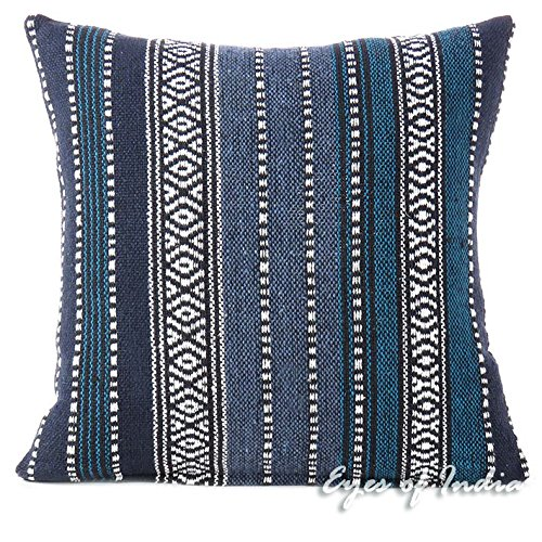 Eyes of India - 16' Blau Schwarz gestreifte Dekorative Kissen Kissenbezug Fall Wirf Sofa Couch Bunte Boho Chic Sitz Bohemian Accent Indian Marokkanische Handgemacht Cover ONLY