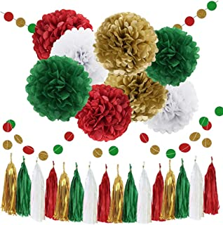 WAYSLA Christmas Hanging Decorations 30pcs Green Red White Gold Bridal Shower Decorations Tissue Paper Pom Pom Tassel Garland Red Green Party Decorations Birthday Xmas Bachelorette Supplies