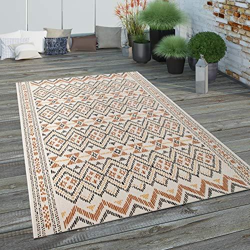 Paco Home Tapis Exterieur Terrasse Balcon Tapis Cuisine Design Ethnique Motif Geometrique, Dimension:120x170 cm, Couleur:Multicolore