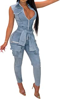 IyMoo Jeans Jumpsuits for Women - Sexy Demin Sleevless V Neck Bodycon Long Pants Jumpsuits Rompers with Pockets