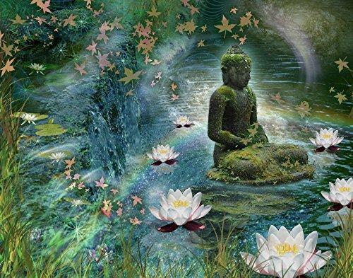 Posterazzi Floating Lotus Buddha Poster Print by Alixandra Mullins, (16 x 12)