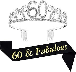 60th Birthday Decorations Party Supplies Birthday Tiara and Sash Black Glitter Satin Sash and Crystal Tiara Birthday Crown for 60th Birthday Party Supplies and Decorations 60th Birthday Cake Topper