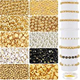 Whaline 1500Pcs Bead Making Kit 3 Sizes Gold Round Spacer Beads White Pearl Beads Gold Ball Heart...