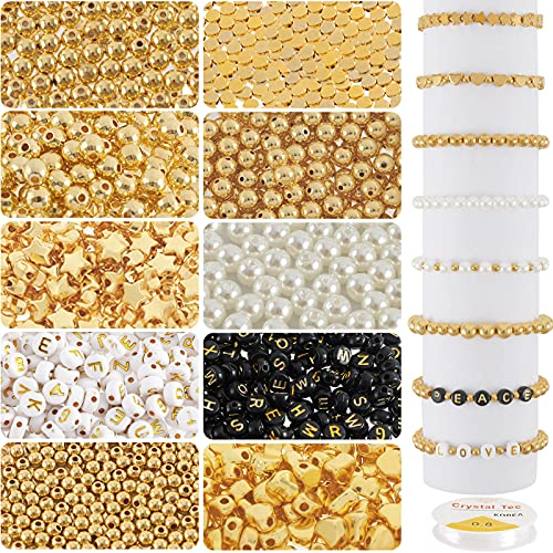 Whaline 1500Pcs Bead Making Kit 3 Sizes Gold Round Spacer Beads White Pearl Beads Gold Ball Heart Star Flat Beads Alphabet Letter Beads with Elastic String for DIY Jewelry Making Necklace Bracelet